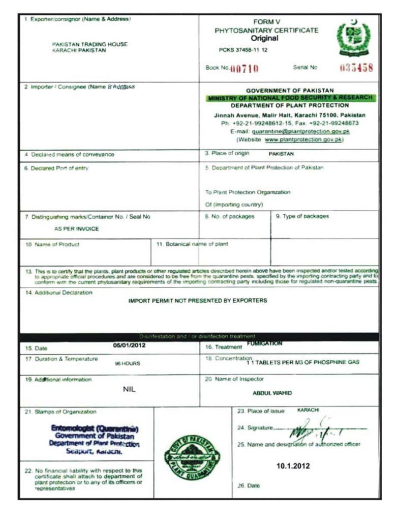 Mẫu giấy xác nhận hun trùng Certificate of Fumigation